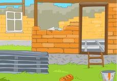 Cartoon background of rural house construction. Stock Photos