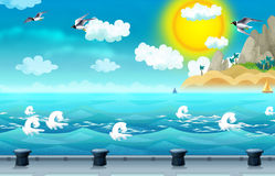 Cartoon background of a sea and docking station for ships Stock Images