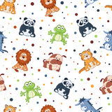 Cartoon background. Seamless pattern with stuffed toys. Cute cartoon animals background. Cat, lion, donkey, panda, frog, dog Royalty Free Stock Photos