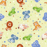 Cartoon background. Seamless pattern with stuffed toys. Cute cartoon animals background. Cat, lion, mouse, elephant, turtle, sheep Royalty Free Stock Image