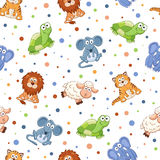 Cartoon background. Seamless pattern with stuffed toys. Cute cartoon animals background. Cat, lion, mouse, elephant, turtle, sheep Royalty Free Stock Photos