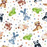 Cartoon background. Seamless pattern with stuffed toys. Cute cartoon animals background. Cat, lion, mouse, elephant, turtle, sheep Stock Images