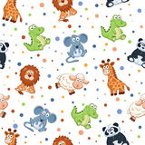 Cartoon background. Seamless pattern with stuffed toys. Cute cartoon animals background. Cat, lion, mouse, elephant, turtle, sheep Stock Photos