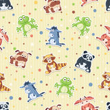 Cartoon background. Seamless pattern with stuffed toys. Cute cartoon animals background. Panda, dog, raccoon, frog, cow, donkey Royalty Free Stock Images