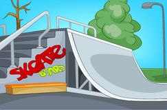 Cartoon background of skatepark. Royalty Free Stock Photo