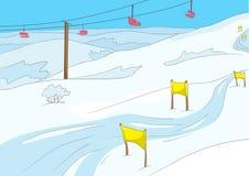 Cartoon background of ski resort. Stock Photo