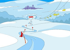 Cartoon background of ski resort. Hand drawn cartoon of infrastructure for winter sports. Cartoon background of mountains ski resort. Cartoon of snowboard and Royalty Free Stock Photo