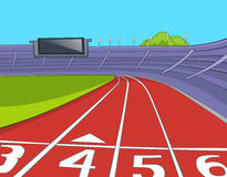 Cartoon background of stadium with running tracks. Royalty Free Stock Photo
