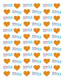 Cartoon background from stylized colorful hearts and inscriptions - I love you. Vector seamless background. Cartoon background from stylized colorful hearts and Vector Illustration
