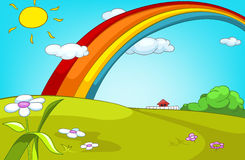 Cartoon background of summer glade with rainbow. Stock Photography