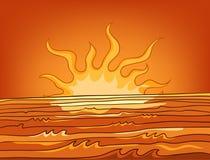 Cartoon background of sunset landscape. Hand drawn cartoon of sea landscape. Colourful cartoon of scenery of fiery sunset. Cartoon background of sea or ocean Stock Image