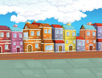 Cartoon background of a town. Beautiful and colorful illustration for the children