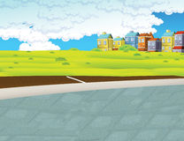 Cartoon background of a town Stock Images