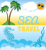 Cartoon background for travel template Royalty Free Stock Photos