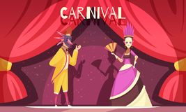 Carnival Cartoon Background. Cartoon background with two people wearing costumes and masks at carnival vector illustration Royalty Free Stock Photos
