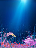 Cartoon background of underwater life. Stock Image
