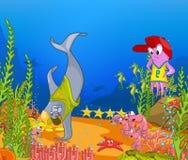 Cartoon background of underwater life. Stock Image