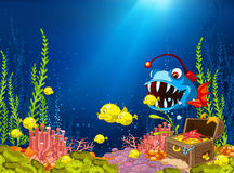 Cartoon background of underwater life. Hand drawn cartoon of sea landscape. Colourful cartoon of underwater life. Cartoon of underwater world with treasure Stock Photo