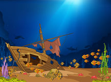 Cartoon background of underwater life. vector illustration