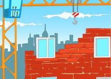 Cartoon background of urban house construction. Stock Photography