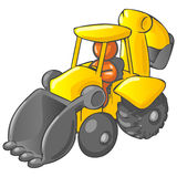 Cartoon backhoe with man. Cartoon orange man in yellow excavator backhoe isolated on white background Royalty Free Stock Photography