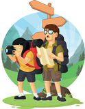 Cartoon of Backpacker Boy & Girl Enjoying Vacation Royalty Free Stock Photos