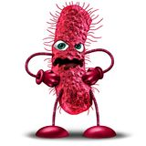 Cartoon Bacteria Character. As a red disease monster creature as a health medicine or medical pathology symbol as a pathogen clip art icon on a white background Royalty Free Stock Image