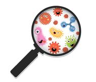 Cartoon bacteria under a magnifying glass Royalty Free Stock Photos