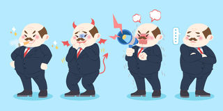 Cartoon bad boss. Cute cartoon bad boss with blue background Royalty Free Stock Image