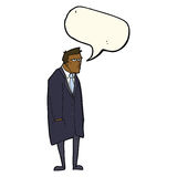 cartoon bad tempered man with speech bubble Royalty Free Stock Image
