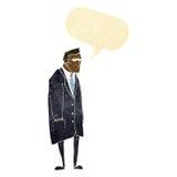 cartoon bad tempered man with speech bubble Stock Photo