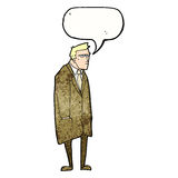 cartoon bad tempered man with speech bubble Royalty Free Stock Images