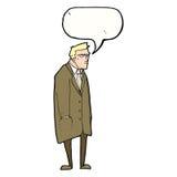 cartoon bad tempered man with speech bubble Royalty Free Stock Photos