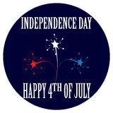 Cartoon badge for the Independence Day 4th of July. Cartoon badge for the national American holiday - Independence Day of the USA. There are the white, red and Royalty Free Stock Photography