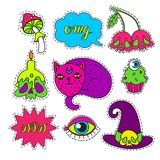 Cartoon badge,sticker. Vector set of Halloween Cartoon badge, sticker.Hand drawn set.Design Illustration.Patch or fashion pin badges.Stickers. phrases OMG,Wow Royalty Free Stock Image
