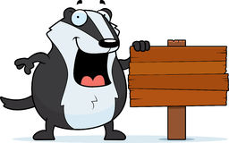 Cartoon Badger Sign Royalty Free Stock Photography