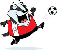 Cartoon Badger Soccer Kick Royalty Free Stock Photo