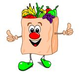 Cartoon bag of fruit & veg. Cartoon illustration of a shopping bag with fruit and vegetables Royalty Free Stock Images