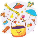 Cartoon bag with funny objects Stock Photos