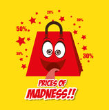 Cartoon bag gift prices madness star yellow background Royalty Free Stock Photos
