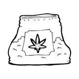 Cartoon bag of weed Royalty Free Stock Photography