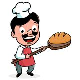 Cartoon baker with freshly baked bread. Baker chef holding a shovel with freshly baked loaf of bread. Vector illustration Stock Photos