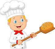 Cartoon baker holding bakery peel tool with bread Royalty Free Stock Photos