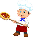 Cartoon a baker with Pizza Stock Image