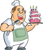 Cartoon baker with a spoon and big cake Royalty Free Stock Images