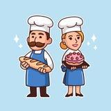 Cartoon bakers couple royalty free illustration