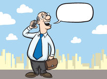 Cartoon bald businessman with mobile phone and briefcase Stock Images
