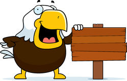 Cartoon Bald Eagle Sign Stock Photography