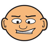 Cartoon bald head. Ed man Stock Photos