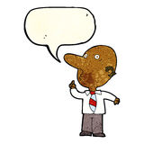 Cartoon bald man asking question with speech bubble Royalty Free Stock Photography